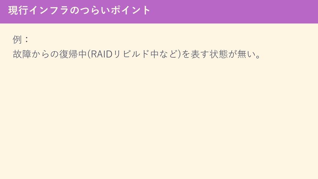 現行インフラのつらいポイント 例: 故障からの復帰中(RAIDリビルド中など)を表す状態が無い。