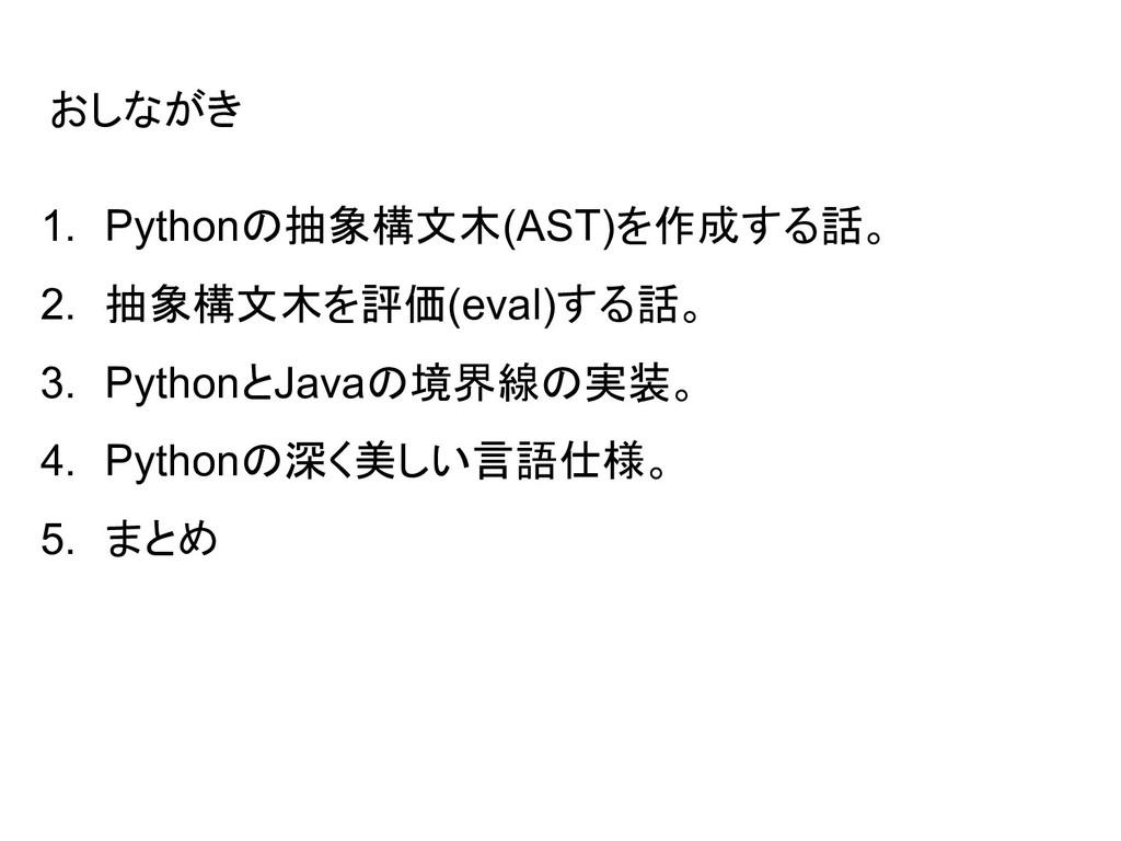 おしながき 1. Pythonの抽象構文木(AST)を作成する話。 2. 抽象構文木を評価(e...