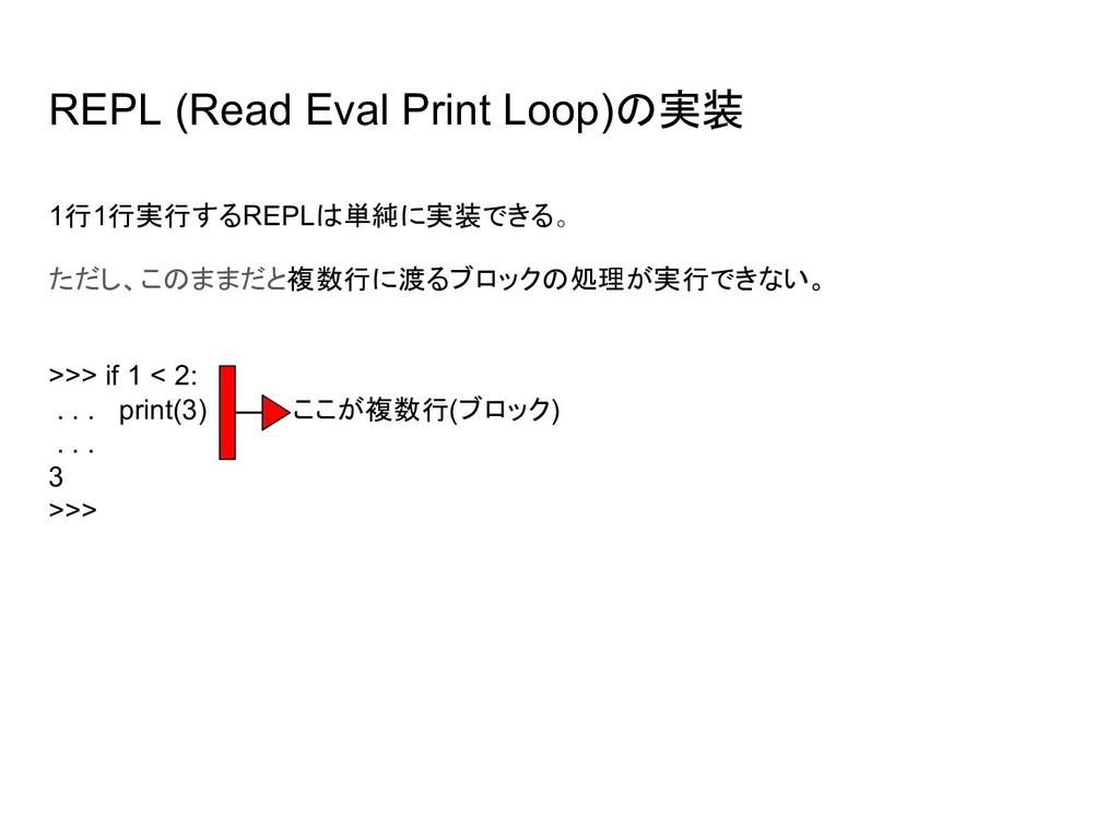 REPL (Read Eval Print Loop)の実装 1行1行実行するREPLは単純に...