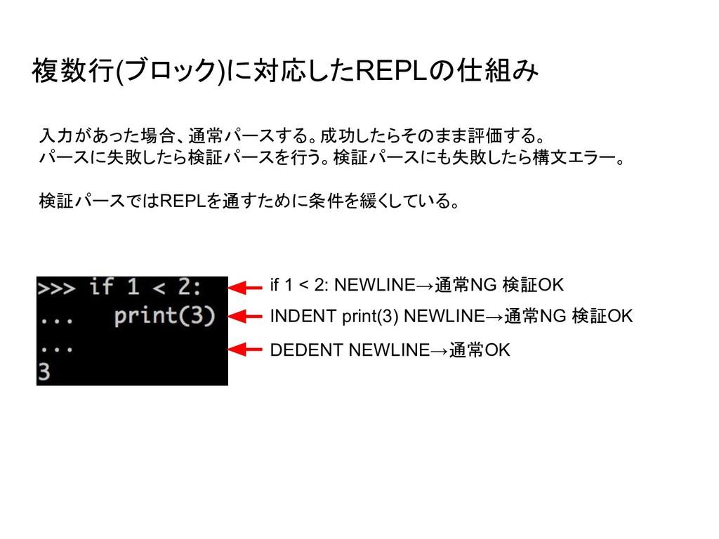 複数行(ブロック)に対応したREPLの仕組み if 1 < 2: NEWLINE→通常NG 検...