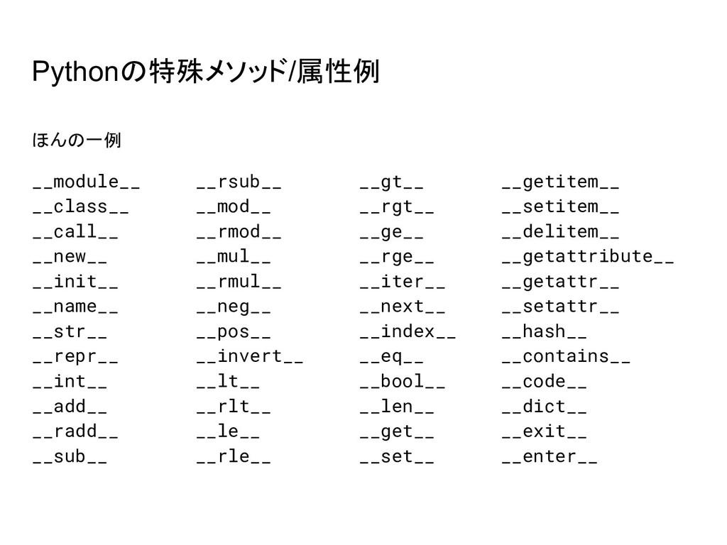 Pythonの特殊メソッド/属性例 ほんの一例 __module__ __rsub__ __g...