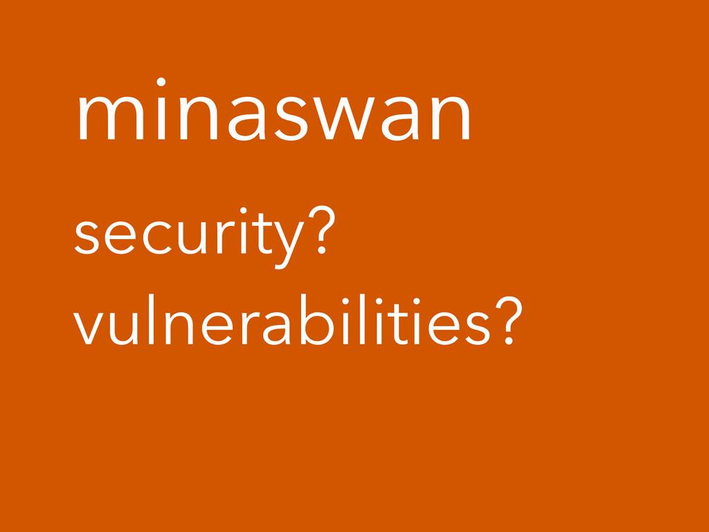 minaswan security? vulnerabilities?
