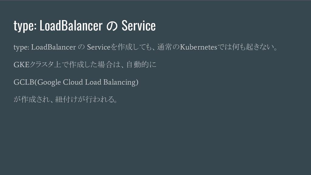 type: LoadBalancer の Service type: LoadBalancer...