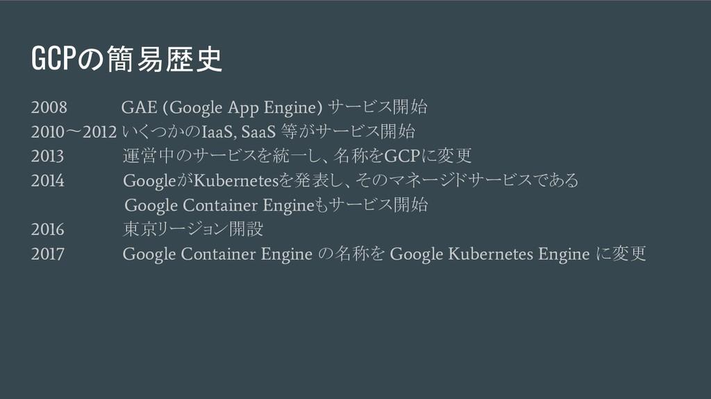GCPの簡易歴史 2008 GAE (Google App Engine) サービス開始 20...
