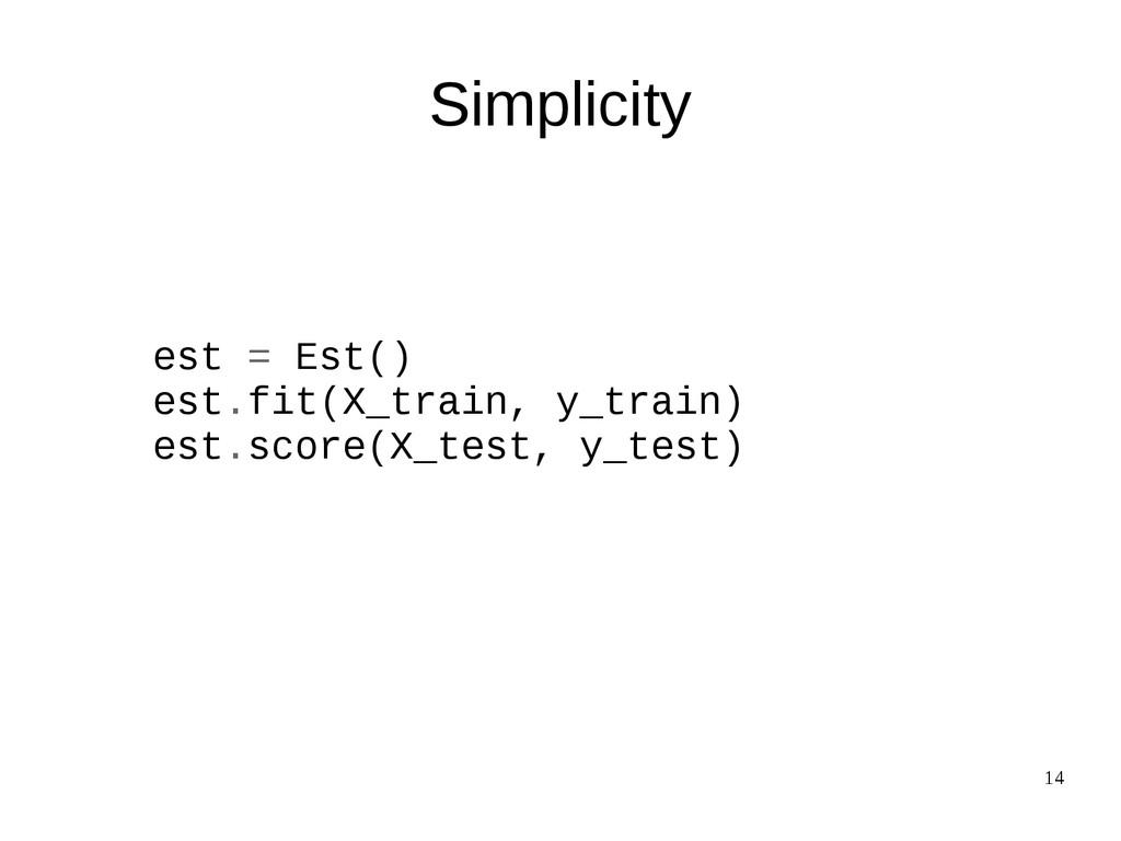 14 Simplicity est = Est() est.fit(X_train, y_tr...
