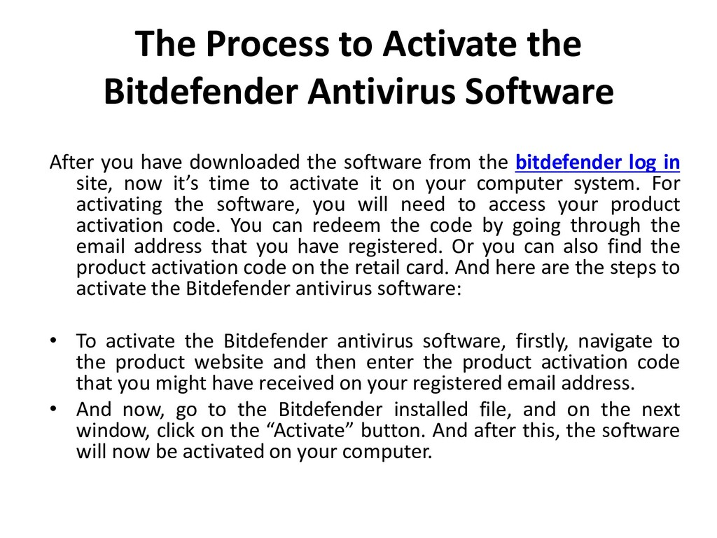 The Process to Activate the Bitdefender Antivir...