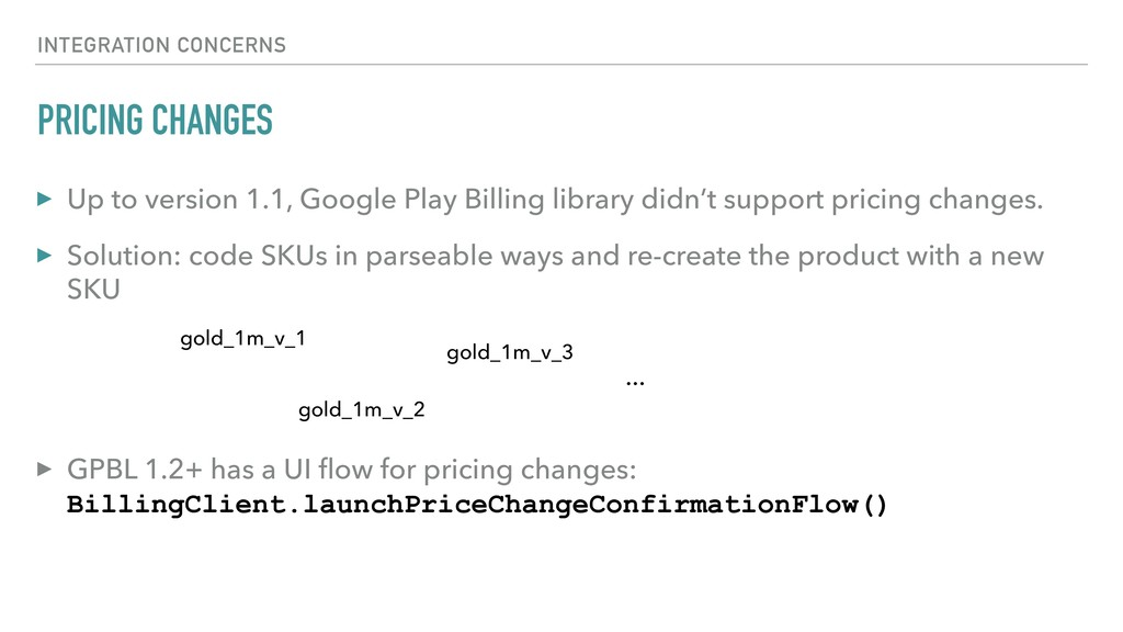 PRICING CHANGES ▸ Up to version 1.1, Google Pla...