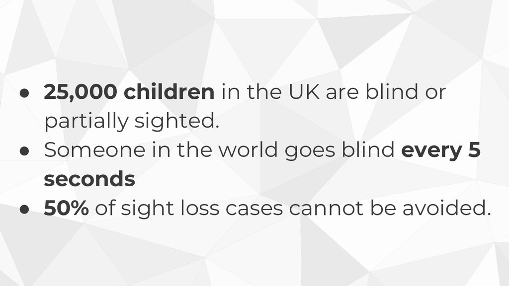 ● 25,000 children in the UK are blind or partia...