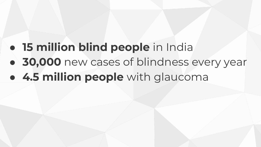 ● 15 million blind people in India ● 30,000 new...