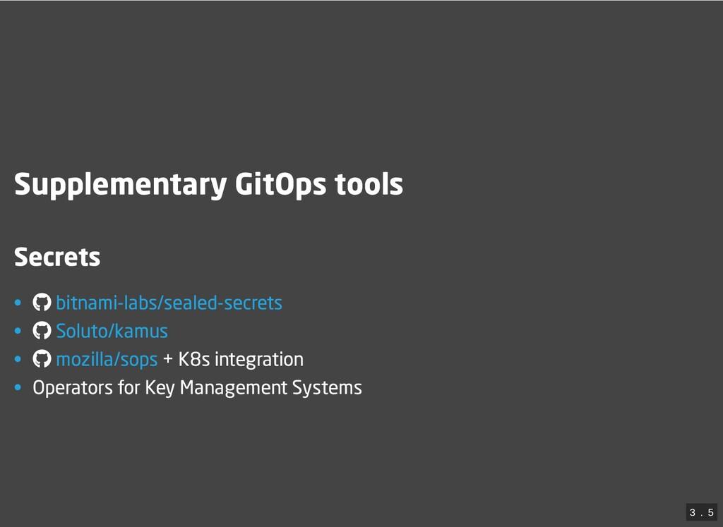 Supplementary GitOps tools Secrets • • • + K8s ...
