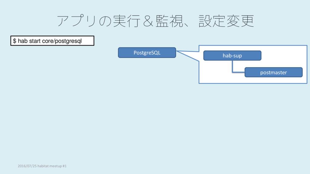 アプリの実行&監視、設定変更 PostgreSQL $ hab start core/post...