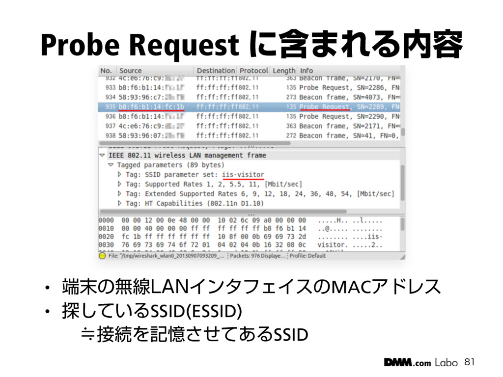 "Probe Request ʹؚ·ΕΔ༰  w ͷແઢ-""/ΠϯλϑΣΠεͷMACΞ..."
