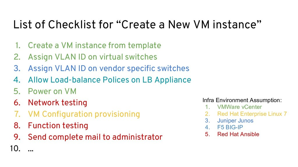 "List of Checklist for ""Create a New VM instance..."