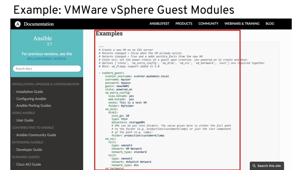 Example: VMWare vSphere Guest Modules