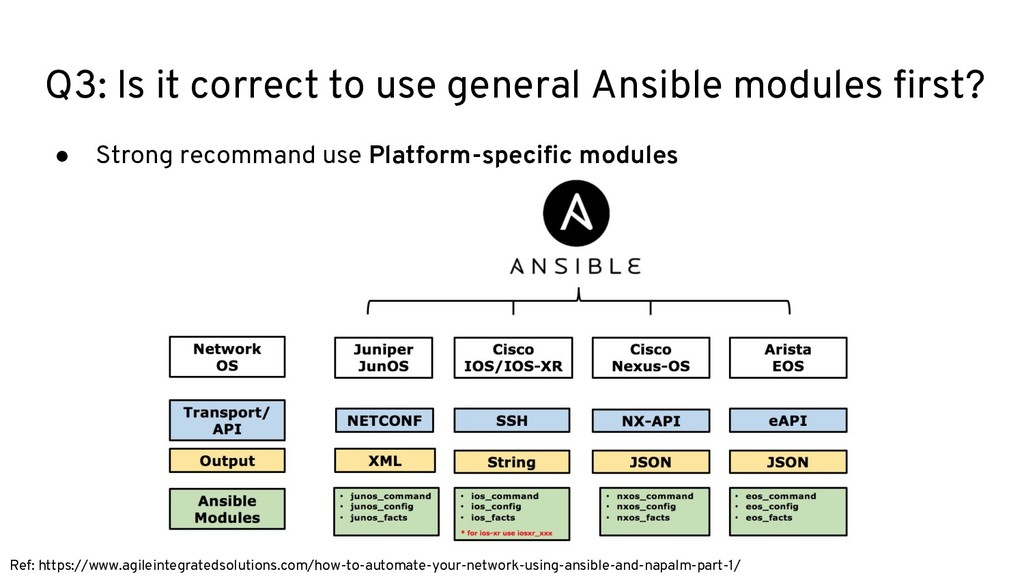 Q3: Is it correct to use general Ansible module...