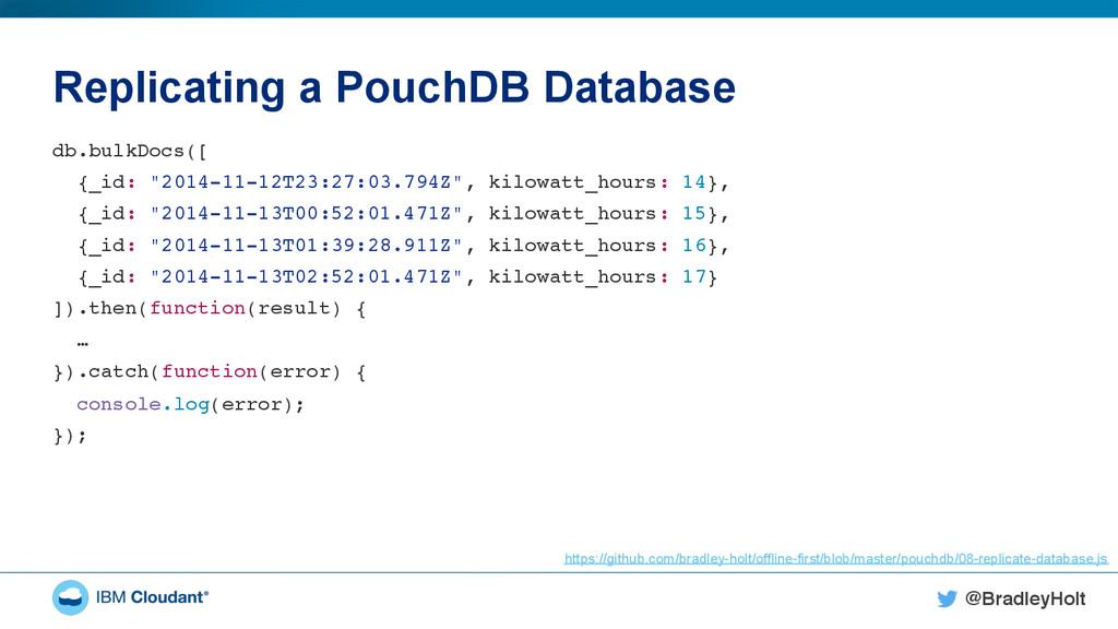 @BradleyHolt! Replicating a PouchDB Database db...