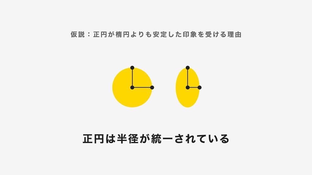 仮説:正円が楕円よりも安定した印象を受ける理由 正円は半径が統一されている