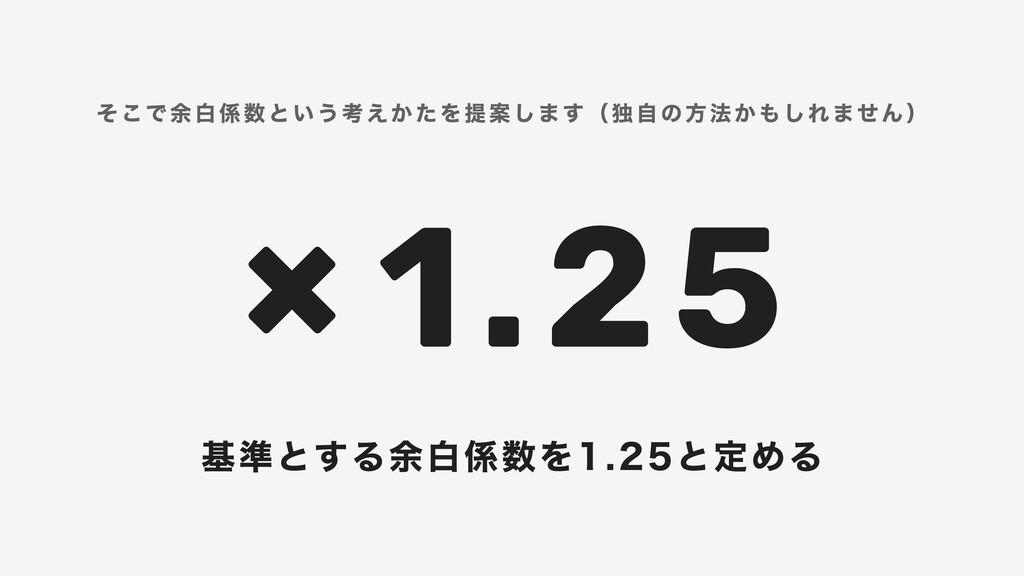 × 1.25 そこで余白係数という考えかたを提案します(独自の方法かもしれません) 基準とする...