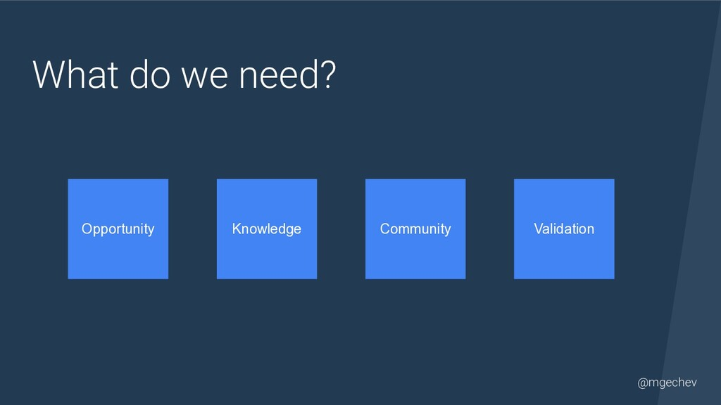 @mgechev What do we need? Opportunity Knowledge...