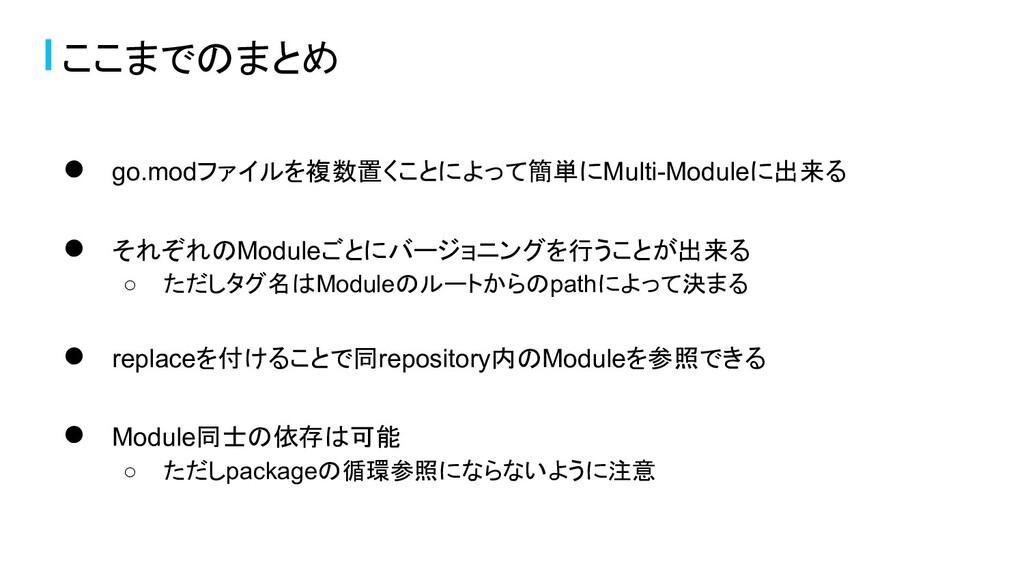 ここまでのまとめ ● go.modファイルを複数置くことによって簡単にMulti-Module...