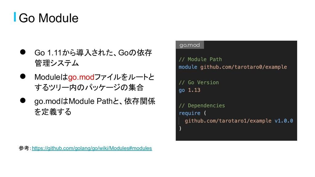 Go Module ● Go 1.11から導入された、Goの依存 管理システム ● Modul...