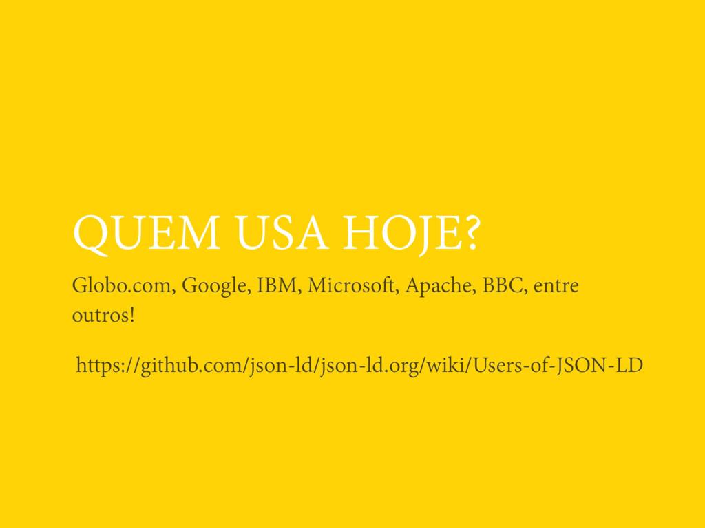 QUEM USA HOJE? Globo.com, Google, IBM, Microsof...