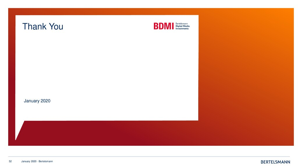 52 January 2020 · Bertelsmann January 2020 Than...