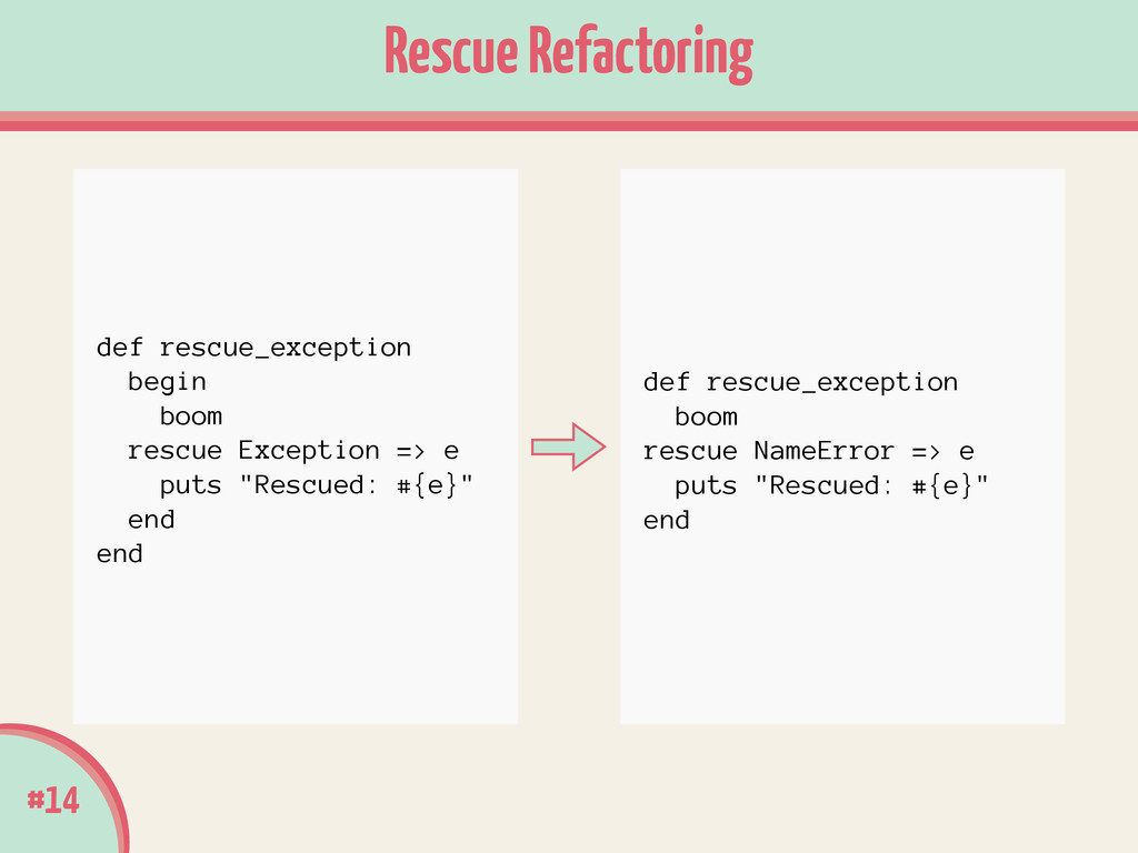 #14 Rescue Refactoring def rescue_exception boo...