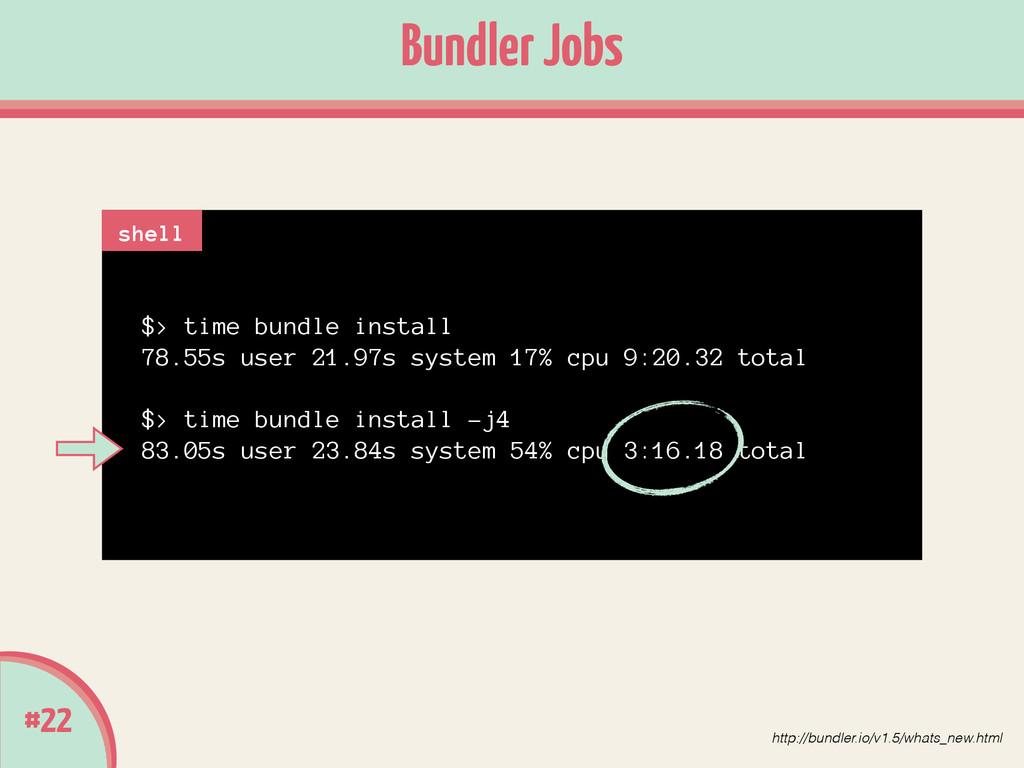 #22 Bundler Jobs $> time bundle install 78.55s ...