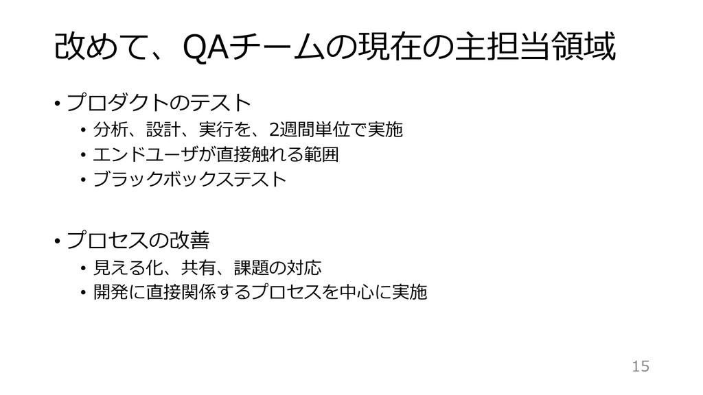 改めて、QAチームの現在の主担当領域 • プロダクトのテスト • 分析、設計、実⾏を、2週間単...