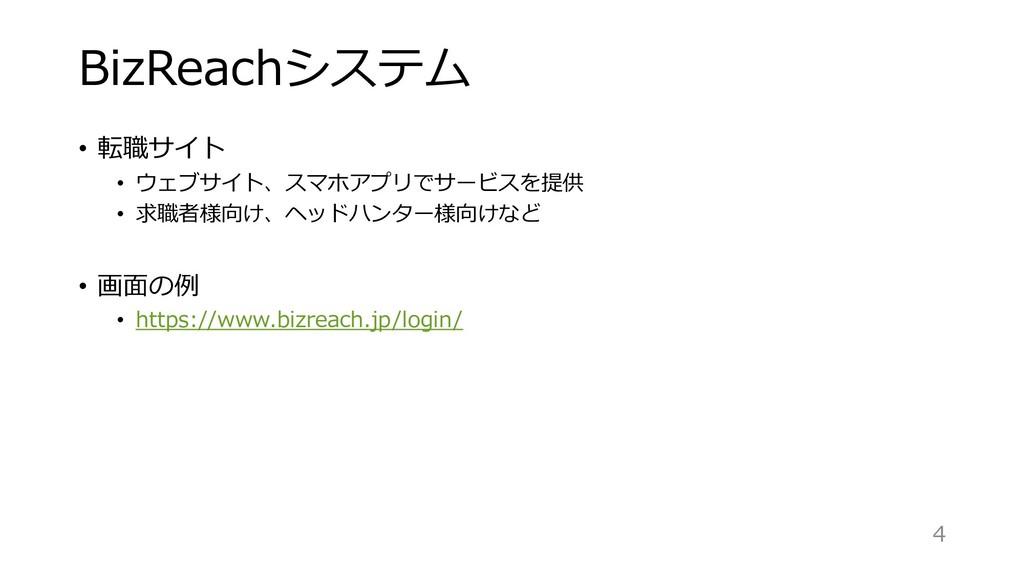 BizReachシステム • 転職サイト • ウェブサイト、スマホアプリでサービスを提供 • ...