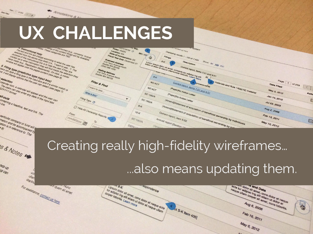 UX CHALLENGES Creating really high-fidelity wir...