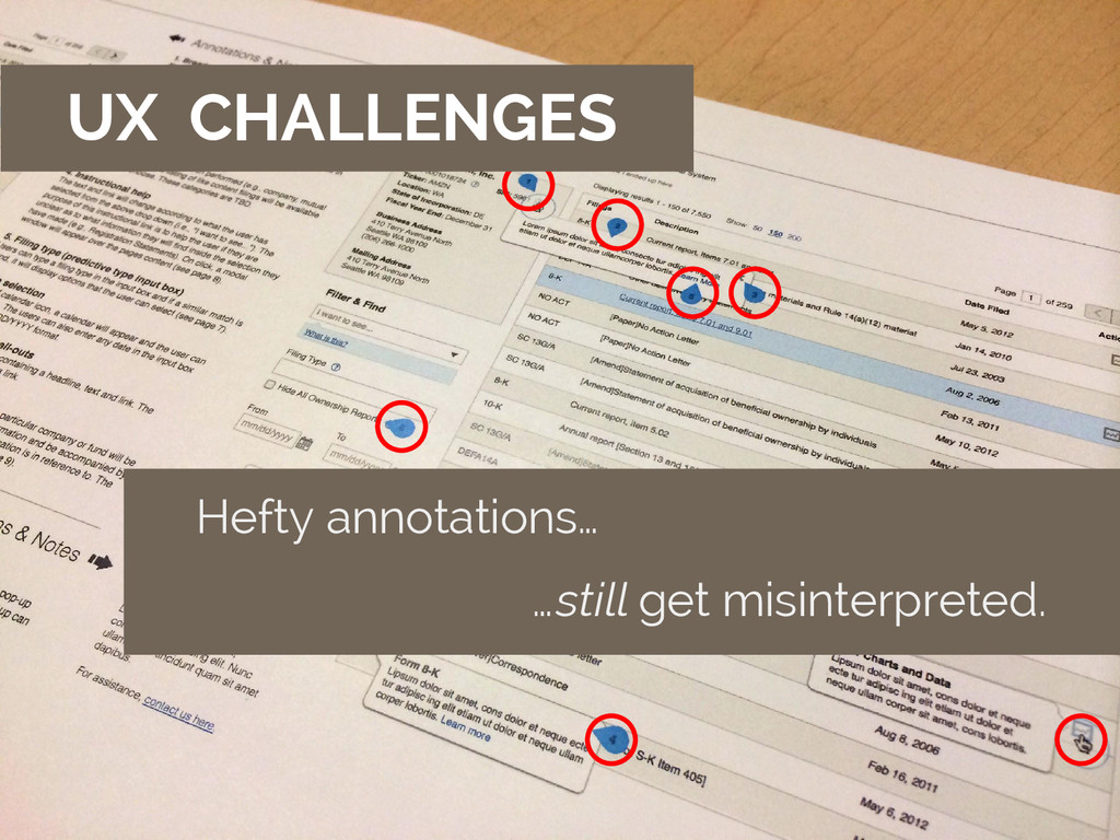 UX CHALLENGES Hefty annotations… …still get mis...