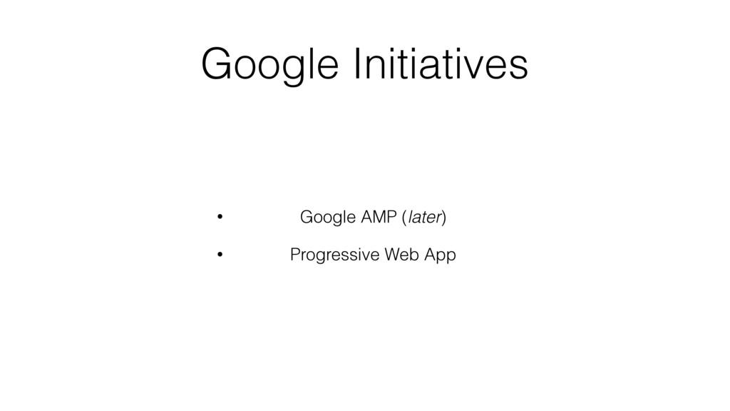 Google Initiatives • Google AMP (later) • Progr...