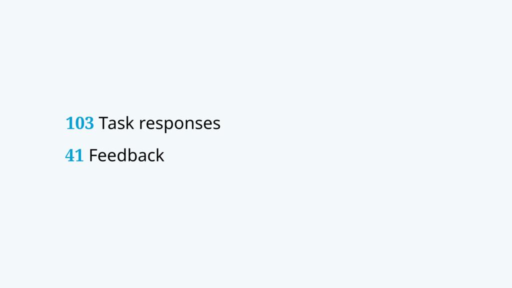 103 Task responses 41 Feedback