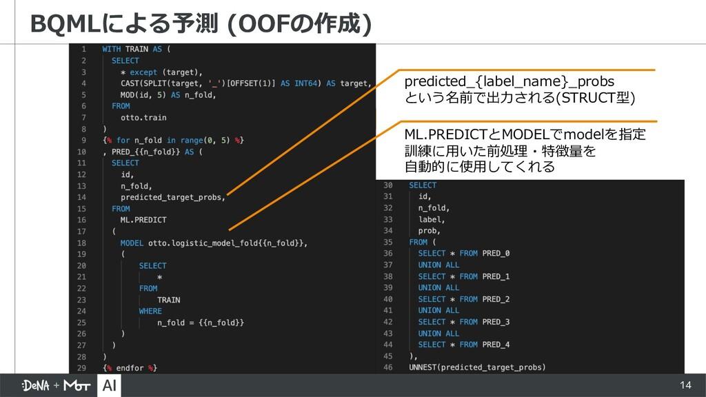 14 BQMLによる予測 (OOFの作成) ML.PREDICTとMODELでmodelを指定...