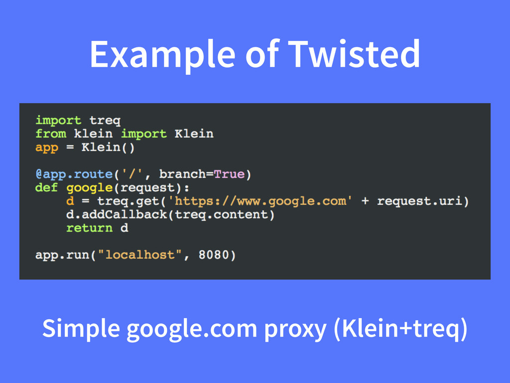 Example of Twisted Simple google.com proxy (Kle...