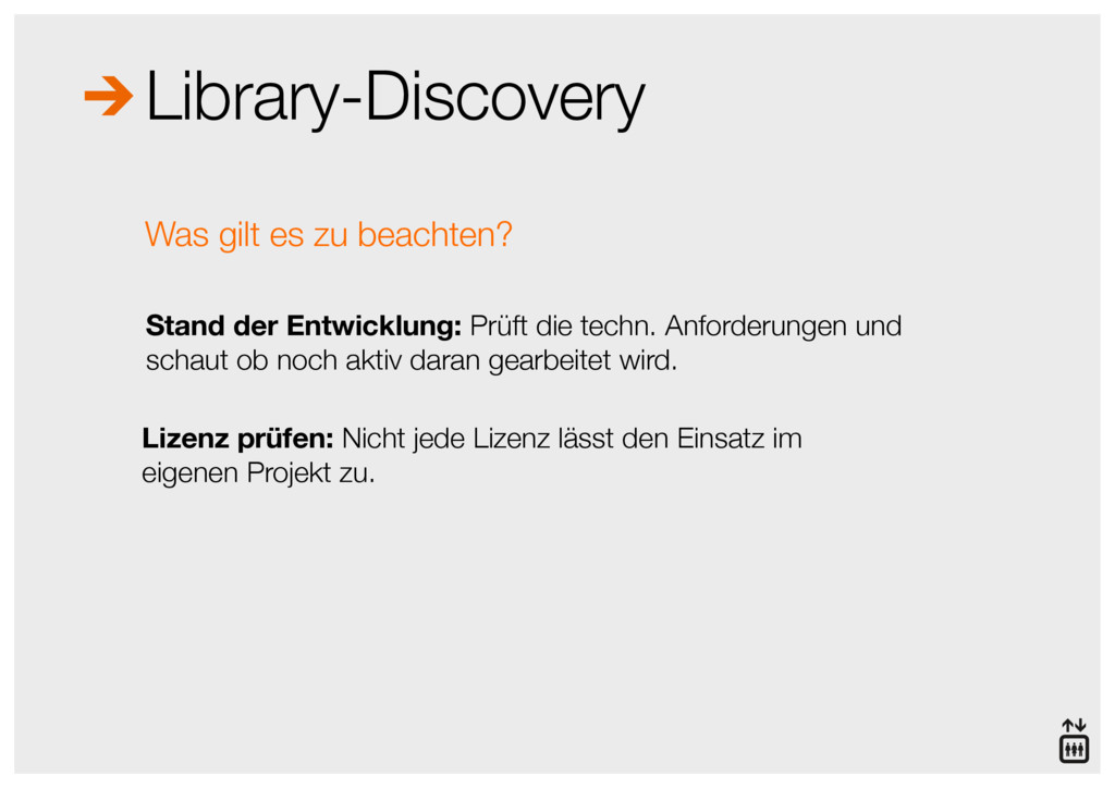 Library-Discovery Stand der Entwicklung: Prüft ...