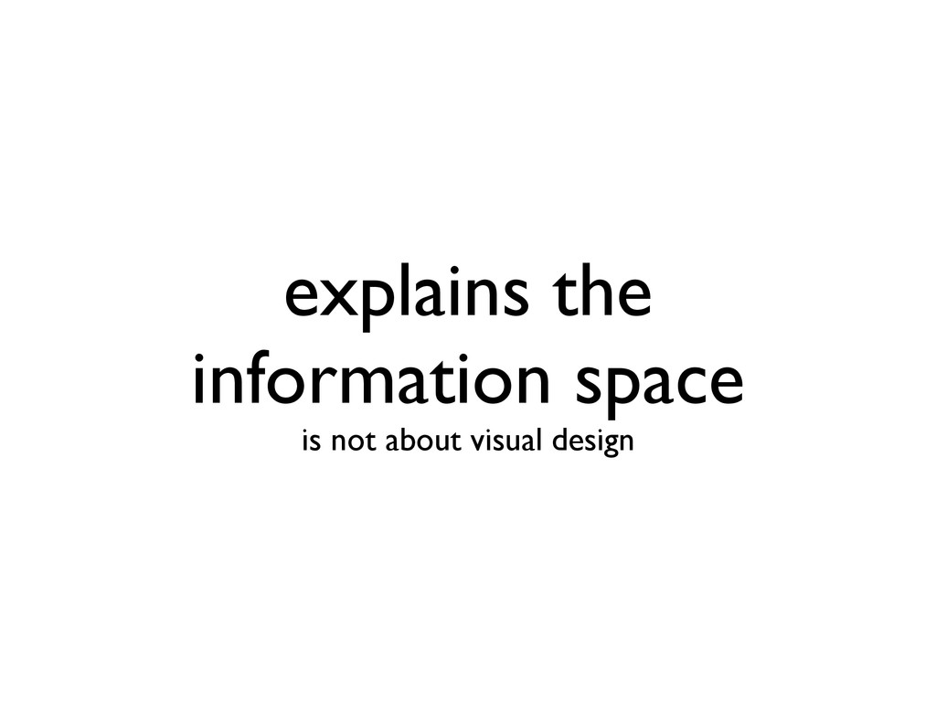 explains the information space is not about vi...