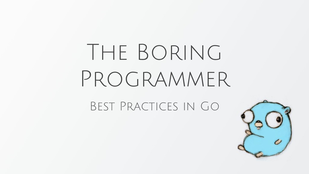 The Boring Programmer Best Practices in Go
