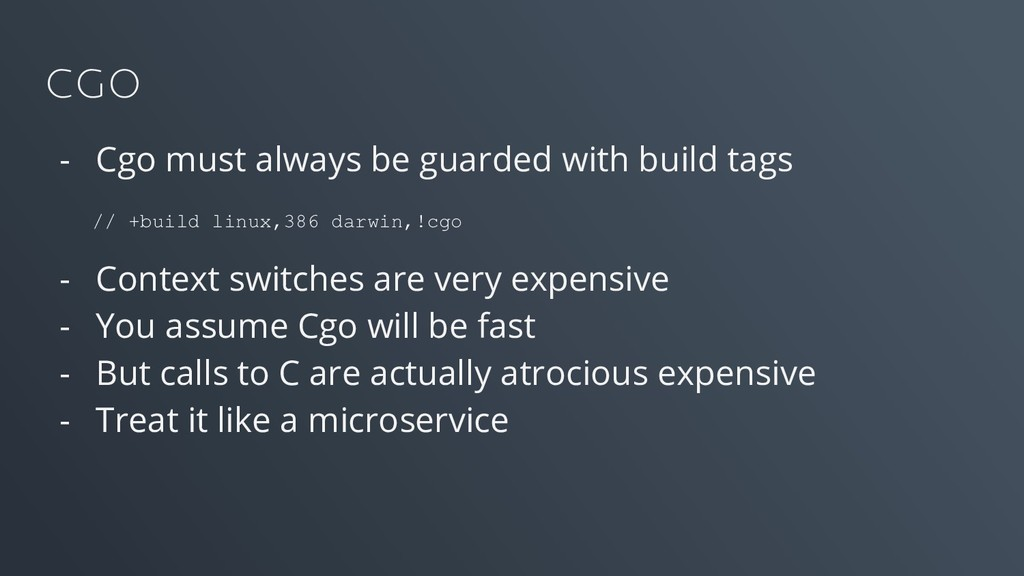 CGO - Cgo must always be guarded with build tag...