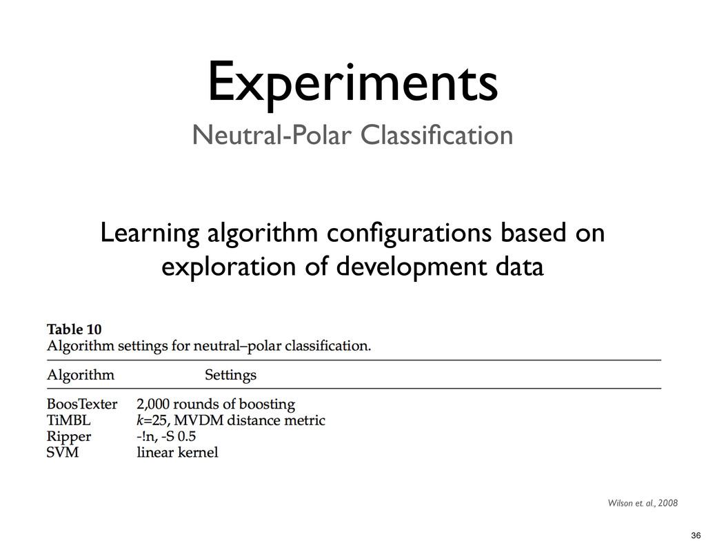 Experiments Neutral-Polar Classification Learnin...