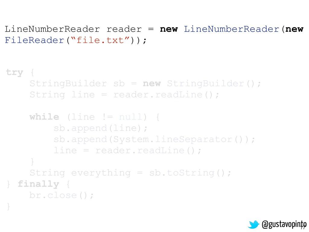 17 try { StringBuilder sb = new StringBuilder()...