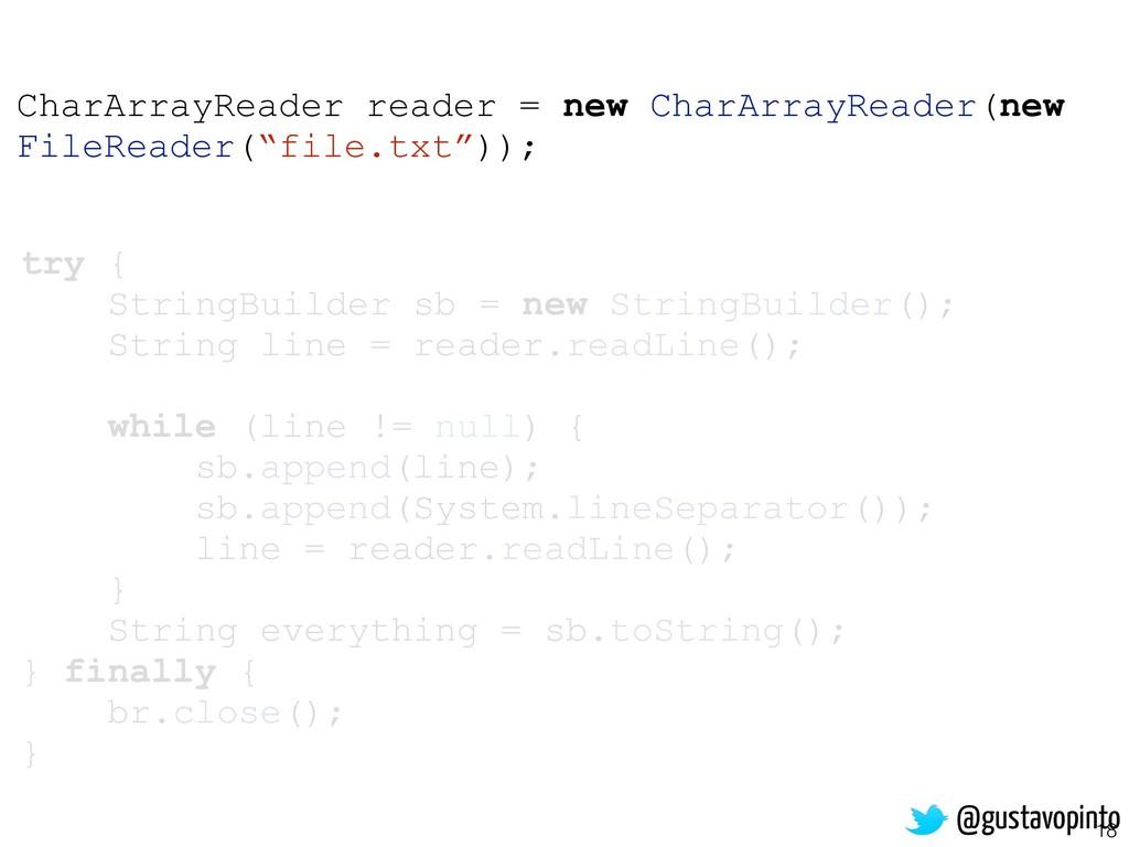 18 try { StringBuilder sb = new StringBuilder()...