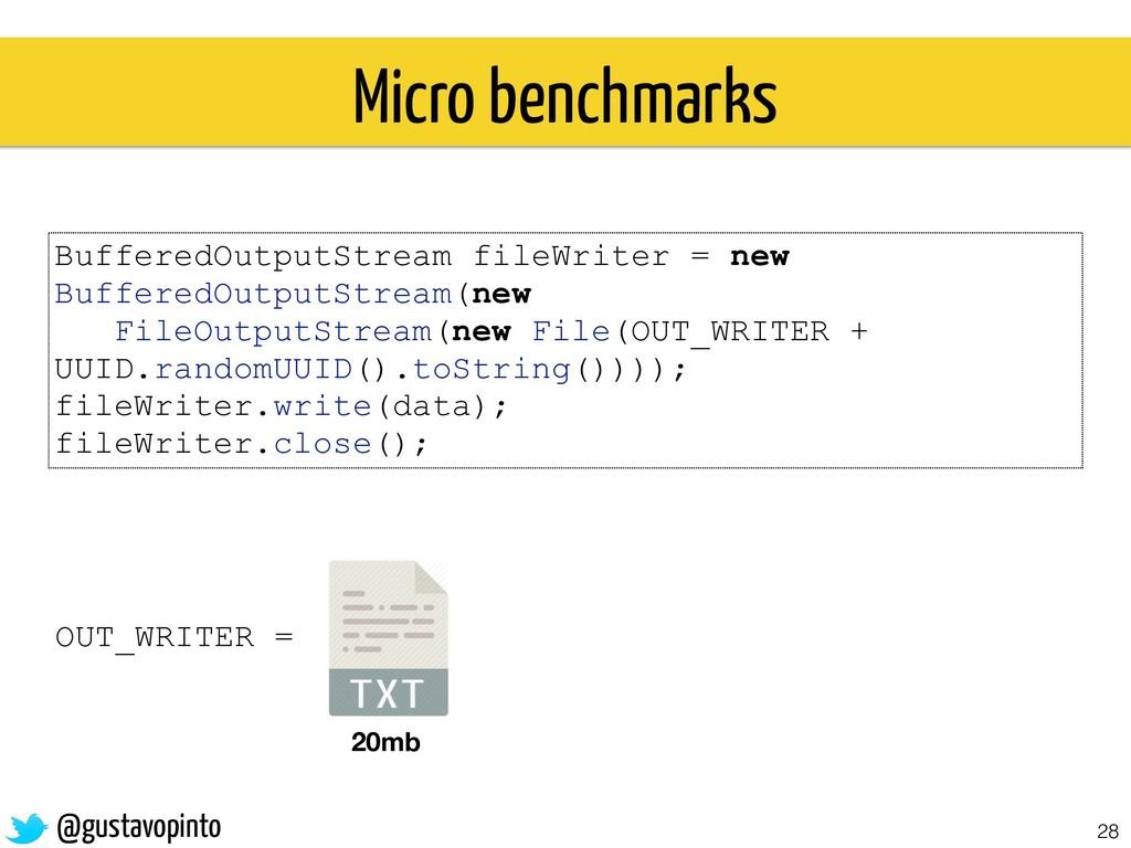 28 Micro benchmarks BufferedOutputStream fileWr...