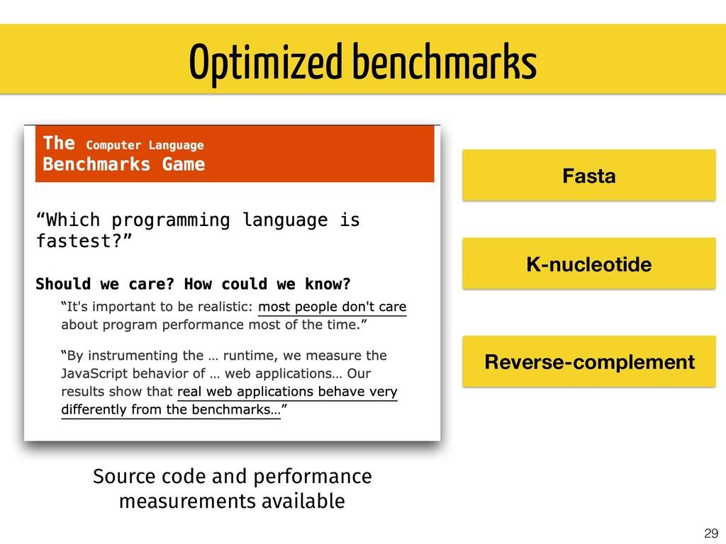 29 Optimized benchmarks Fasta K-nucleotide Reve...