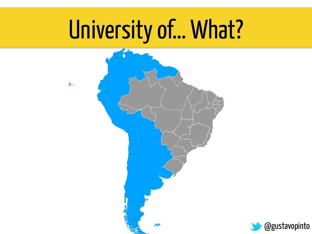 University of… What? @gustavopinto