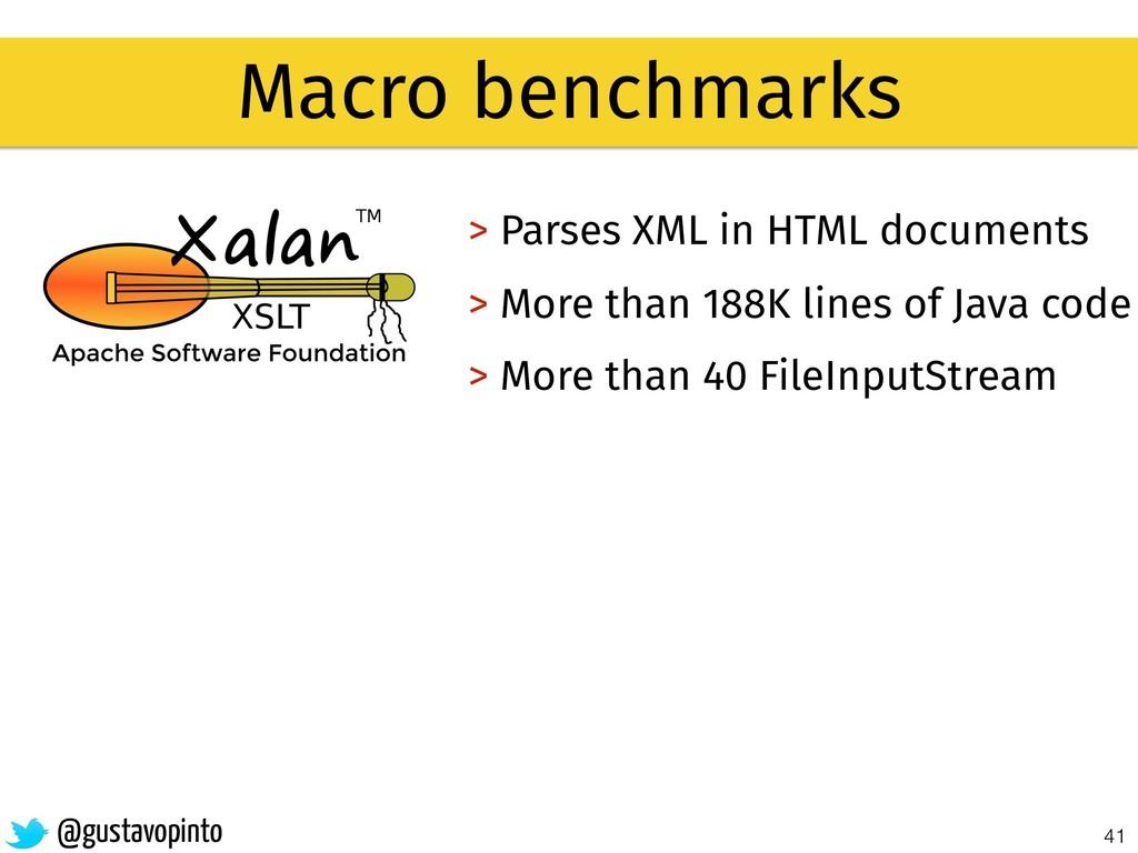 41 Macro benchmarks > Parses XML in HTML docume...