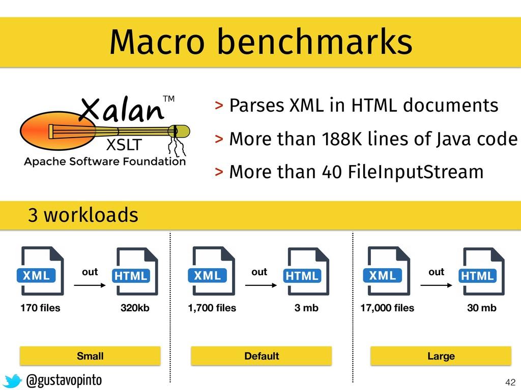42 Macro benchmarks > Parses XML in HTML docume...