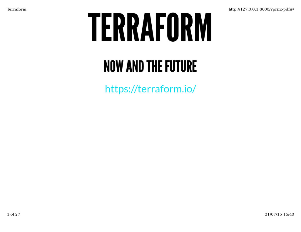 TERRAFORM TERRAFORM NOW AND THE FUTURE NOW AND ...